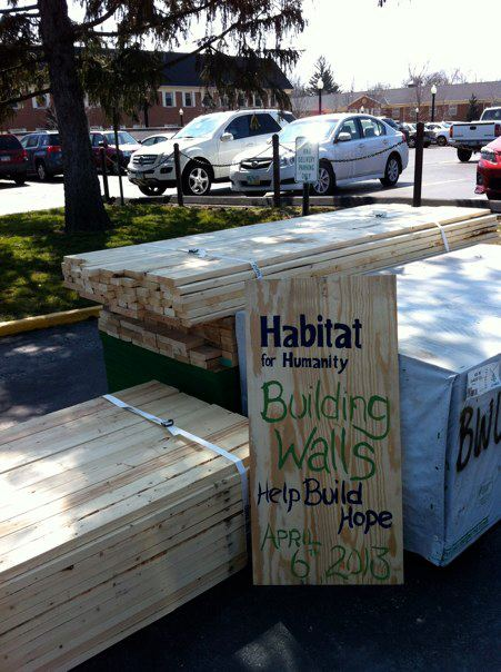 Habitat for Humanity prepares its supplies for the Building Walls event