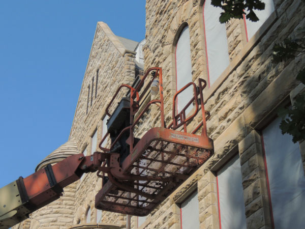 Views of the Marting Hall restoration.