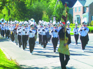 BW Marching Yellow Jackets performing in the Homecoming Parade.