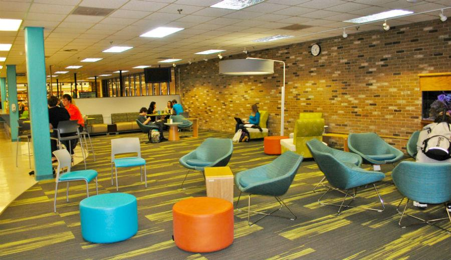 The updated look of Baldwin Wallace's newly-renovated Cyber Café. The café's new, more contemporary look includes new carpet, paint and furniture among other newly finished renovations.