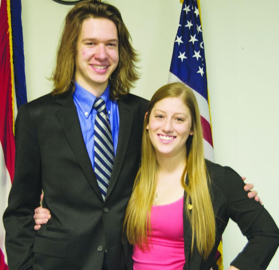 Kevin Warman and Annette Fetter pose as the newly-elected Student Body President and Vice President.