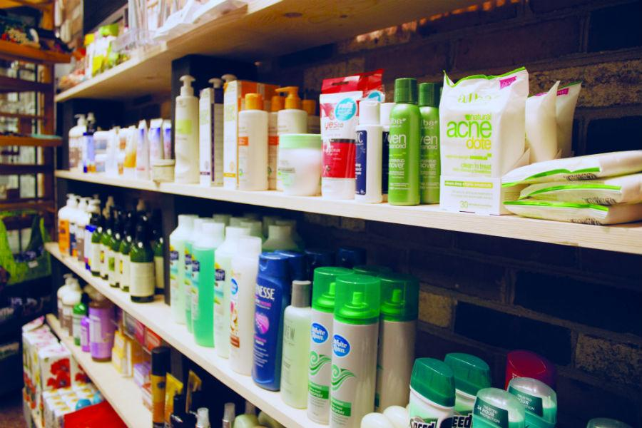 New name-brand beauty and hygiene section in the campus bookstore.