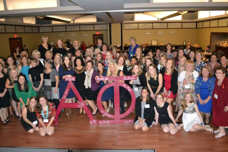 Current Alpha Phi members pose with fomer members as they join together to celebrate the 50th Anniversary of the BW Delta Upsilon Chapter of the Alpha Phi Sorority.