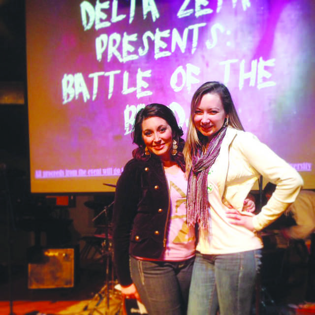 Senior Brittany Callahan and junior Stephanie Higgens MC the the Delta Zeta Sorority's Second Annual Battle of the Bands held in BW's Student Activity Center.