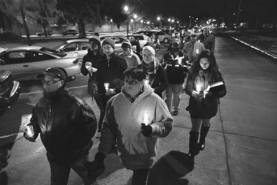 Students and community members joining together for a commemorative candlelight march Tuesday night.