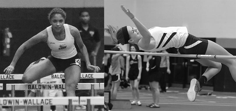 Junior All-American Melanie Winters, pictured competing in high jump, long jump and hurdles, finished first at the All-Ohio Division III Combined Events Championships.