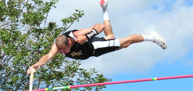 Senior Decathlete Brandon Eddy was fifth in the pole vault at the All-Ohio Division III Championships.  Photo Credit: Sports Information