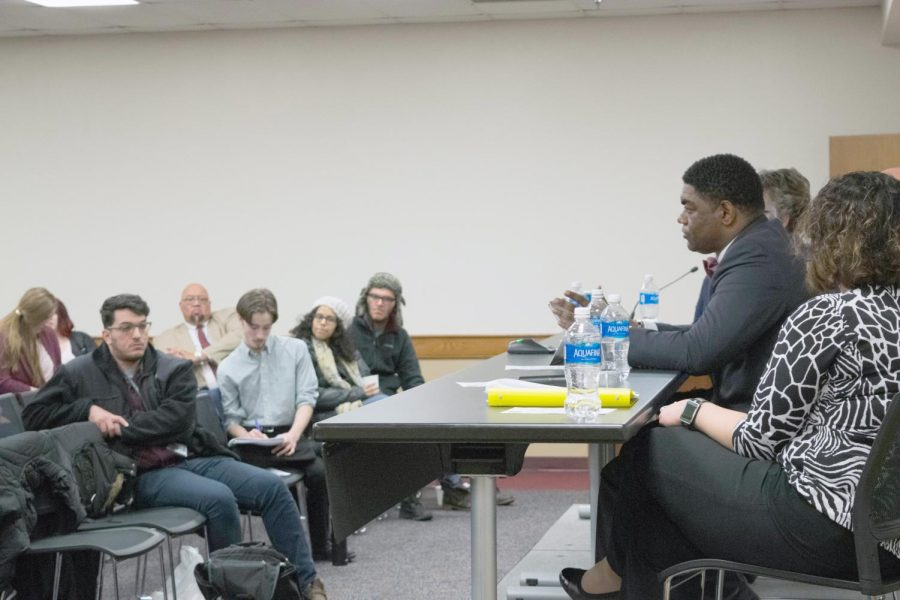 CJ Harkness, right, Baldwin Wallace's Title IX coordinator, speaks during a Jan. 17 campus forum addressing issues and policies related to sexual misconduct.
