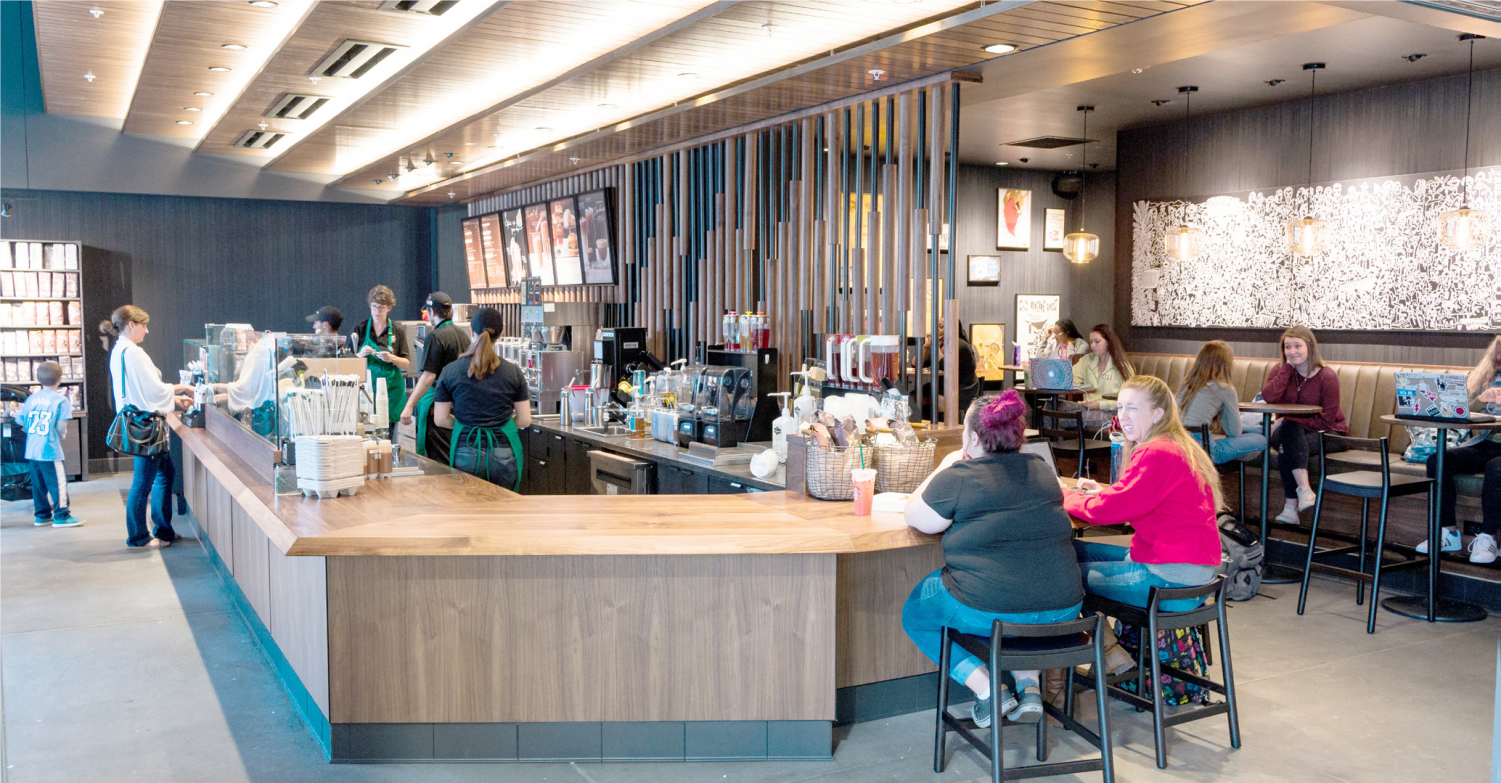 One of the retail spaces on the ground floor is Starbucks, which is run by BW Auxiliary Services. The new building also houses a bank, a pizza place, and a chicken wing restaurant.