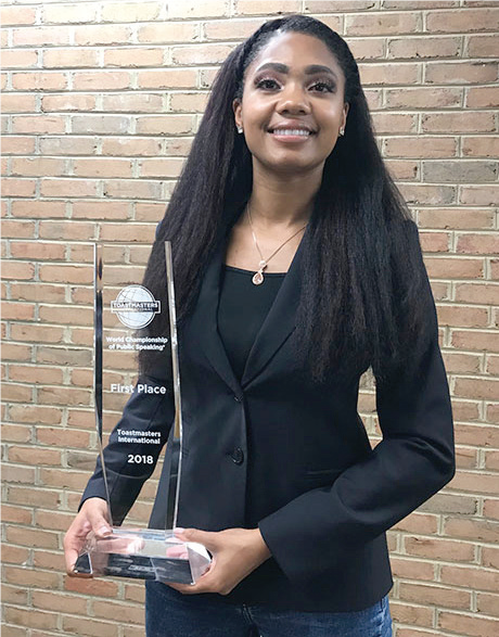 Ramona Smith, a 2017 BW graduate, recently won the Toastmasters International World Championship of Speaking.