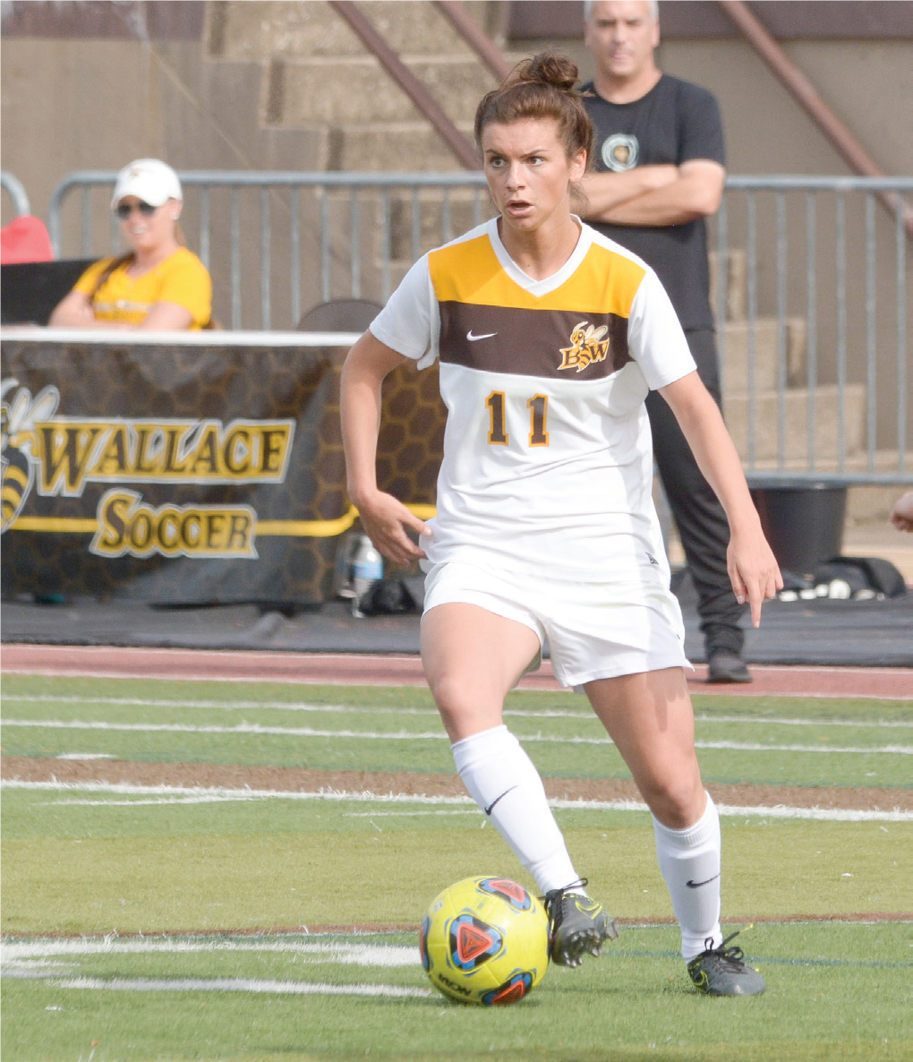 Senior three-time All-OAC Rachel Bender scored goals in both the first and second half against Waynesburg