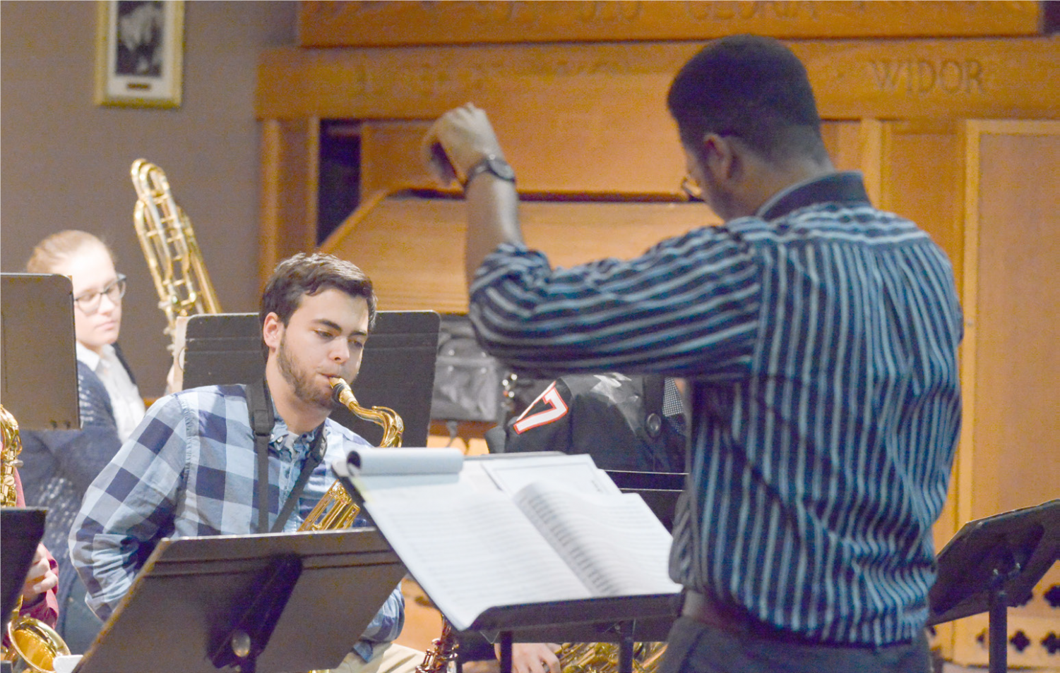 Professor Steven Banks, right, was moved this Fall from an interim position to director of Jazz Studies and assistant professor of saxophone.