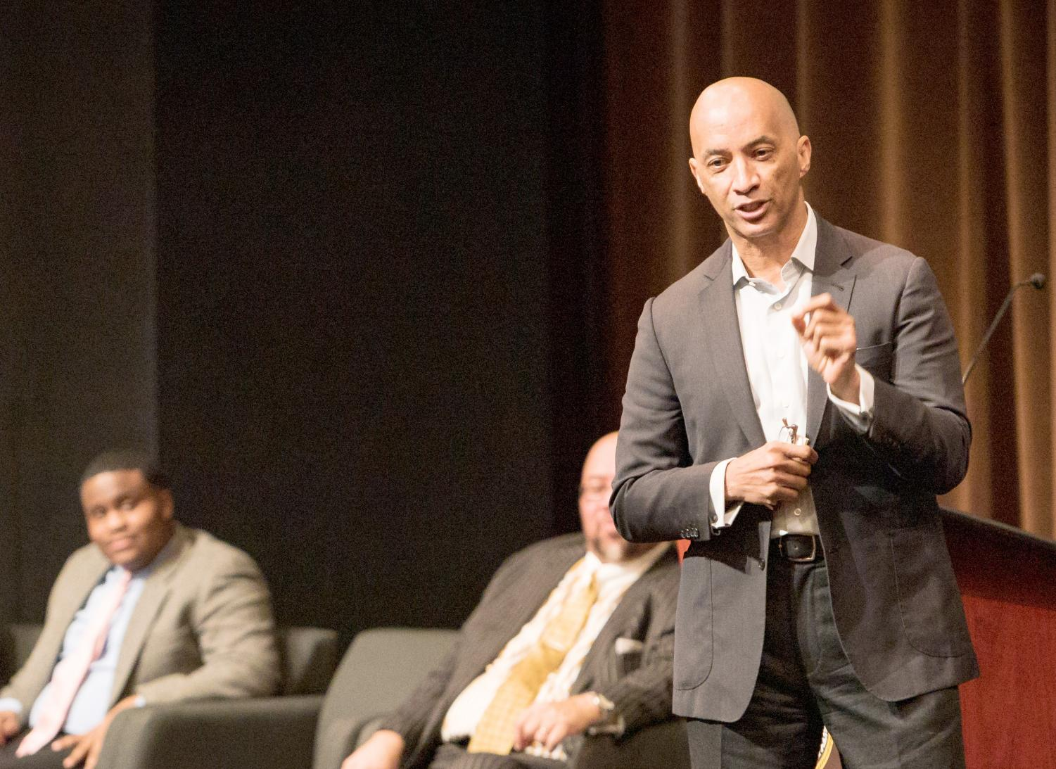Byron Pitts spoke with students about privilege and higher education in the world during MLK Week.