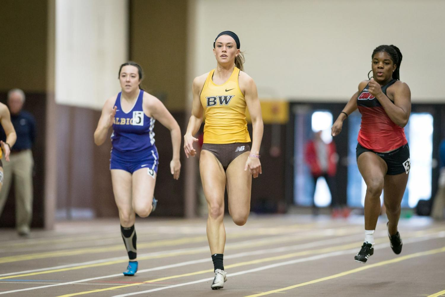 Senior All-OAC sprinter Grace Nemeth was among the individual champions for Baldwin Wallace at the OAC Championships.